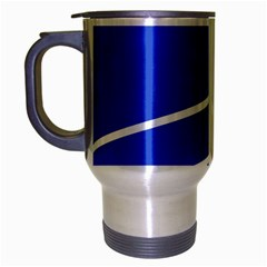 Line Stripes Blue Travel Mug (silver Gray) by Mariart