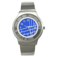 Line Stripes Blue Stainless Steel Watch by Mariart