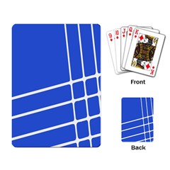Line Stripes Blue Playing Card by Mariart