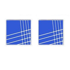 Line Stripes Blue Cufflinks (square) by Mariart