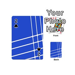 Line Stripes Blue Playing Cards 54 (mini)  by Mariart