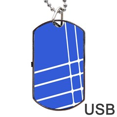 Line Stripes Blue Dog Tag Usb Flash (two Sides) by Mariart