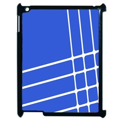 Line Stripes Blue Apple Ipad 2 Case (black) by Mariart
