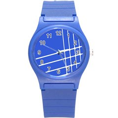 Line Stripes Blue Round Plastic Sport Watch (s) by Mariart