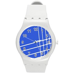 Line Stripes Blue Round Plastic Sport Watch (m) by Mariart