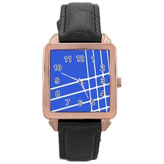 Line Stripes Blue Rose Gold Leather Watch  by Mariart