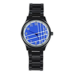 Line Stripes Blue Stainless Steel Round Watch by Mariart