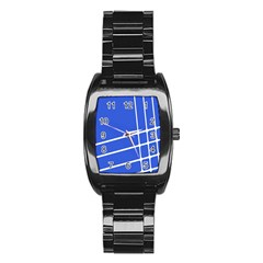Line Stripes Blue Stainless Steel Barrel Watch by Mariart