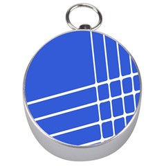 Line Stripes Blue Silver Compasses