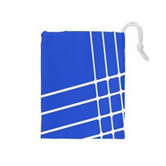 Line Stripes Blue Drawstring Pouches (medium)  by Mariart