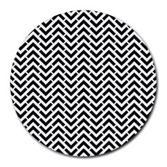 Funky Chevron Stripes Triangles Round Mousepads by Mariart