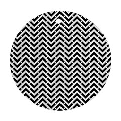 Funky Chevron Stripes Triangles Ornament (round)
