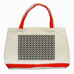 Funky Chevron Stripes Triangles Classic Tote Bag (red) by Mariart