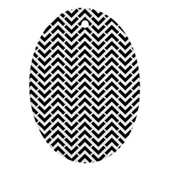 Funky Chevron Stripes Triangles Oval Ornament (two Sides) by Mariart