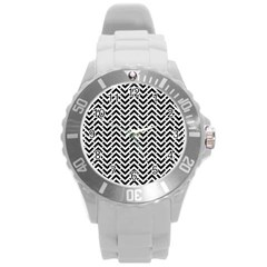 Funky Chevron Stripes Triangles Round Plastic Sport Watch (l) by Mariart