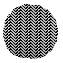 Funky Chevron Stripes Triangles Large 18  Premium Round Cushions by Mariart