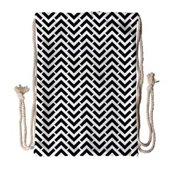 Funky Chevron Stripes Triangles Drawstring Bag (large) by Mariart