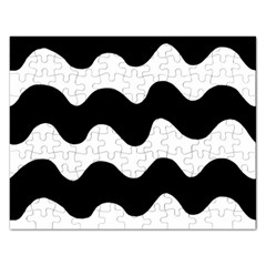 Lokki Cotton White Black Waves Rectangular Jigsaw Puzzl by Mariart