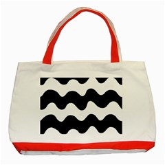 Lokki Cotton White Black Waves Classic Tote Bag (red) by Mariart