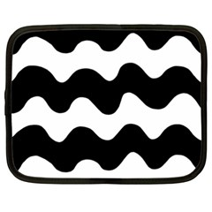 Lokki Cotton White Black Waves Netbook Case (xxl)  by Mariart
