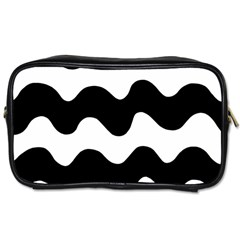 Lokki Cotton White Black Waves Toiletries Bags 2 Side by Mariart