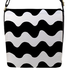 Lokki Cotton White Black Waves Flap Messenger Bag (s) by Mariart