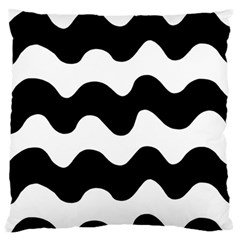 Lokki Cotton White Black Waves Standard Flano Cushion Case (one Side) by Mariart