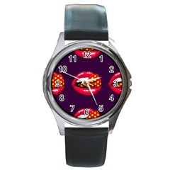Lip Vector Hipster Example Image Star Sexy Purple Red Round Metal Watch