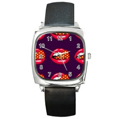 Lip Vector Hipster Example Image Star Sexy Purple Red Square Metal Watch by Mariart