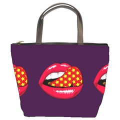 Lip Vector Hipster Example Image Star Sexy Purple Red Bucket Bags by Mariart