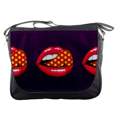 Lip Vector Hipster Example Image Star Sexy Purple Red Messenger Bags by Mariart