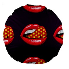 Lip Vector Hipster Example Image Star Sexy Purple Red Large 18  Premium Round Cushions by Mariart