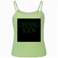 Opening Soon Sign Green Spaghetti Tank by Mariart