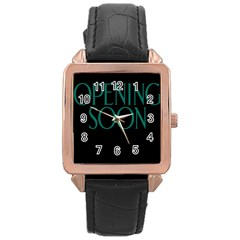 Opening Soon Sign Rose Gold Leather Watch  by Mariart