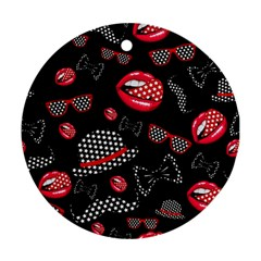 Lip Hat Vector Hipster Example Image Star Sexy Black Red Round Ornament (two Sides)