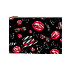 Lip Hat Vector Hipster Example Image Star Sexy Black Red Cosmetic Bag (large)  by Mariart