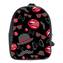 Lip Hat Vector Hipster Example Image Star Sexy Black Red School Bags(large)  by Mariart