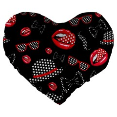 Lip Hat Vector Hipster Example Image Star Sexy Black Red Large 19  Premium Flano Heart Shape Cushions by Mariart