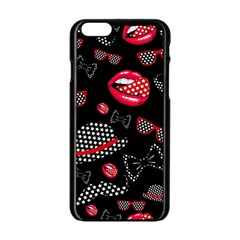 Lip Hat Vector Hipster Example Image Star Sexy Black Red Apple Iphone 6/6s Black Enamel Case by Mariart