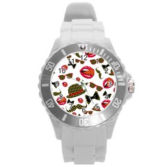 Lip Hat Vector Hipster Example Image Star Sexy Round Plastic Sport Watch (l) by Mariart