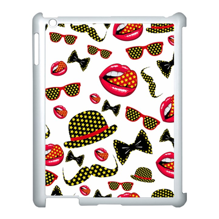 Lip Hat Vector Hipster Example Image Star Sexy Apple iPad 3/4 Case (White)