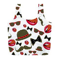 Lip Hat Vector Hipster Example Image Star Sexy Full Print Recycle Bags (l)
