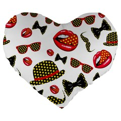 Lip Hat Vector Hipster Example Image Star Sexy Large 19  Premium Flano Heart Shape Cushions by Mariart