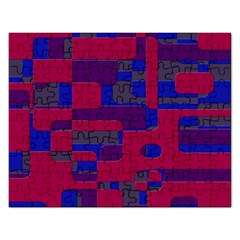 Offset Puzzle Rounded Graphic Squares In A Red And Blue Colour Set Rectangular Jigsaw Puzzl by Mariart