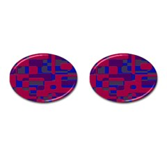 Offset Puzzle Rounded Graphic Squares In A Red And Blue Colour Set Cufflinks (oval)
