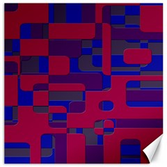 Offset Puzzle Rounded Graphic Squares In A Red And Blue Colour Set Canvas 12  X 12   by Mariart