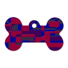 Offset Puzzle Rounded Graphic Squares In A Red And Blue Colour Set Dog Tag Bone (one Side) by Mariart
