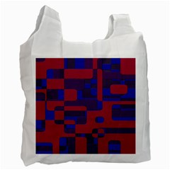 Offset Puzzle Rounded Graphic Squares In A Red And Blue Colour Set Recycle Bag (one Side) by Mariart