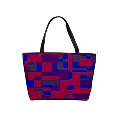 Offset Puzzle Rounded Graphic Squares In A Red And Blue Colour Set Shoulder Handbags by Mariart