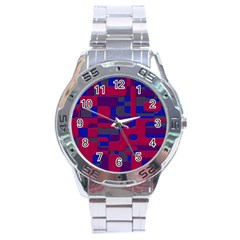 Offset Puzzle Rounded Graphic Squares In A Red And Blue Colour Set Stainless Steel Analogue Watch by Mariart